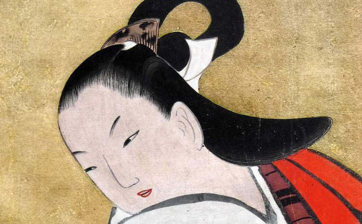 髪を結った平安時代の女性