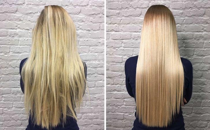 パサついてる髪の毛とうるおいのある髪の毛の比較写真