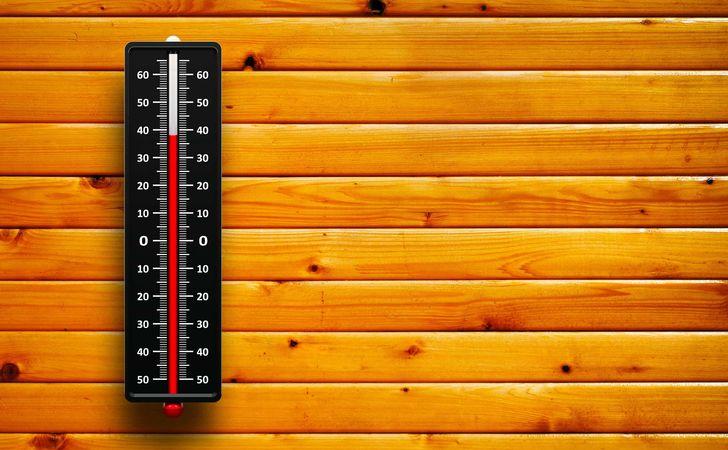 壁に立て掛けられた温度計